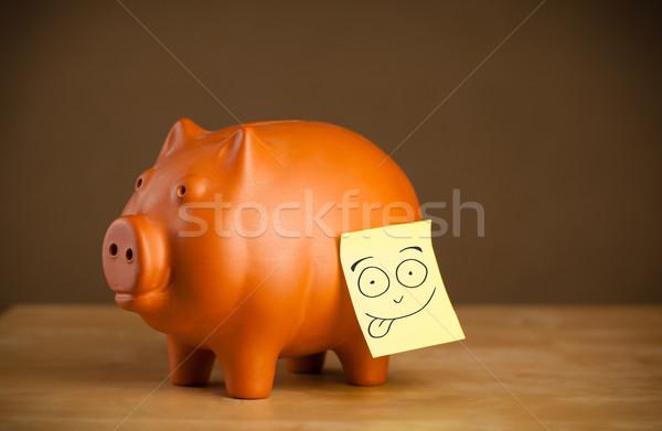 Nota rosto sorridente piggy bank cara feliz Foto stock © ra2studio