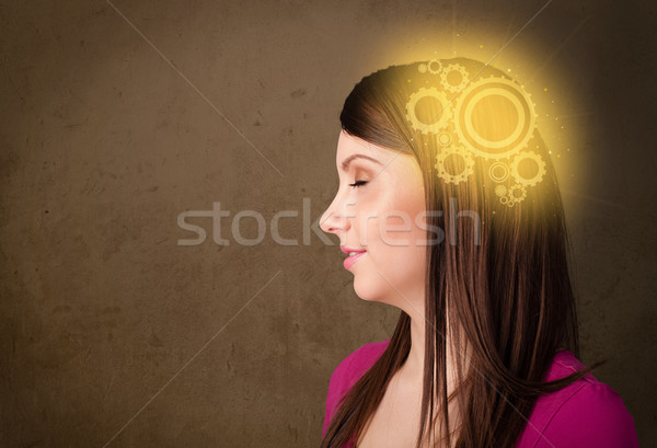 Clever girl thinking with a machine head illustration Stock photo © ra2studio