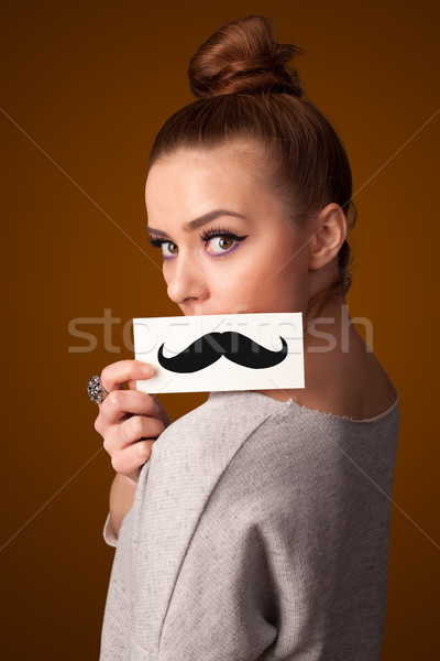 Heureux cute fille papier moustache Photo stock © ra2studio