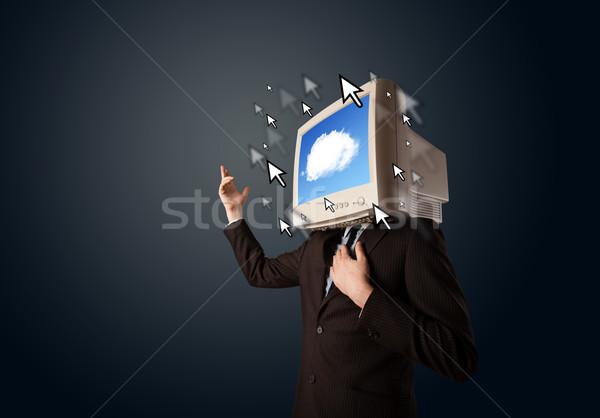 üzletember monitor fej felhő képernyő sötét Stock fotó © ra2studio
