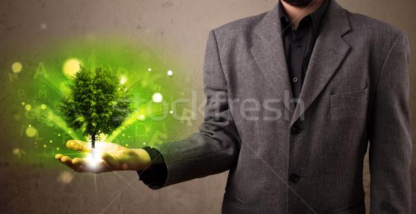 Glowing tree growing in the hand of a businessman Stock photo © ra2studio