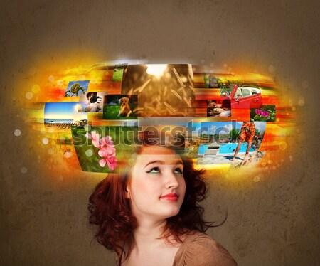 Kız renkli fotoğraf hatıralar sevimli Stok fotoğraf © ra2studio