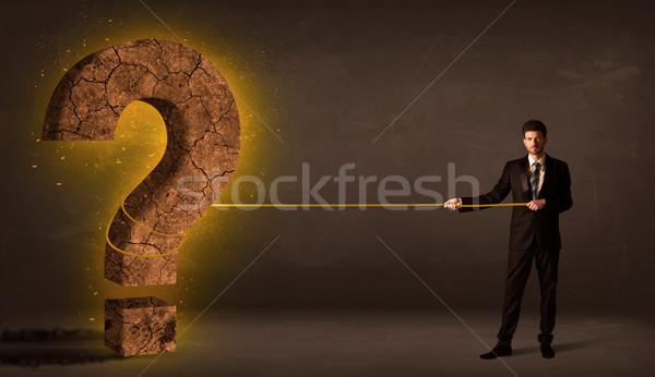 ビジネスマン ビッグ 固体 疑問符 石 ストックフォト © ra2studio