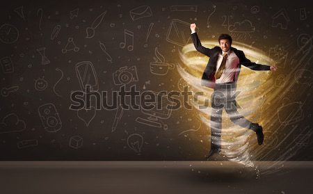 счастливым бизнесмен прыжки торнадо коричневый бизнеса Сток-фото © ra2studio