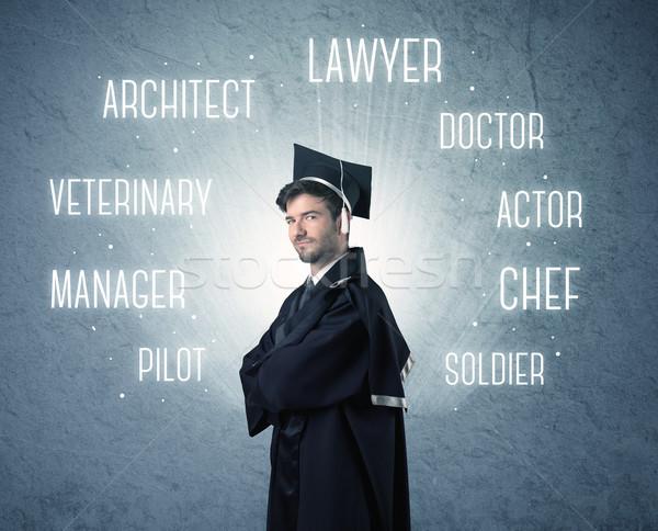 Personne regarder professions écrit au-dessus tête Photo stock © ra2studio