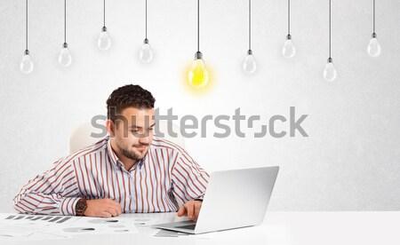 деловой человек сидят таблице Идея ярко Сток-фото © ra2studio