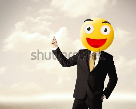 Foto stock: Empresário · amarelo · rosto · sorridente · engraçado · sorrir · feliz