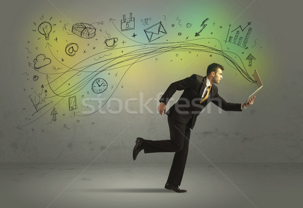 Iş adamı acele karalama medya simgeler Stok fotoğraf © ra2studio