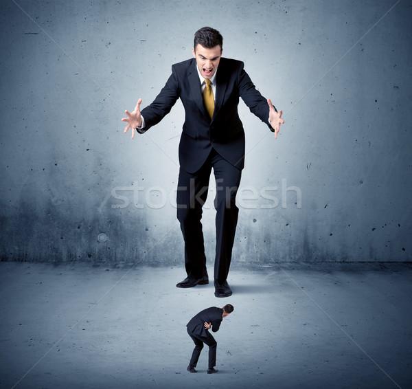 öfkeli dev iş adamı küçük adam Stok fotoğraf © ra2studio