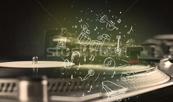 Stockfoto: Draaitafel · spelen · klassieke · muziek · icon · muziek