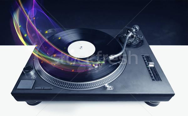 Lemezjátszó játszik bakelit izzó absztrakt vonalak Stock fotó © ra2studio