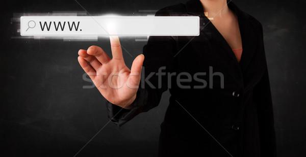 Stok fotoğraf: Genç · işkadını · dokunmak · web · tarayıcı · adres