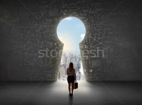 Business woman looking at keyhole with bright cityscape concept  Stock photo © ra2studio