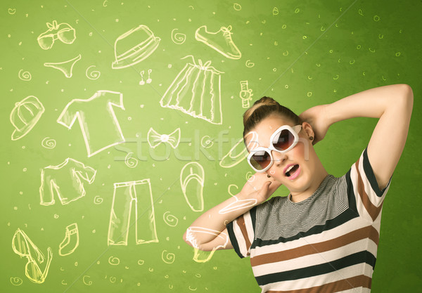 Happy young woman with glasses and casual clothes icons  Stock photo © ra2studio