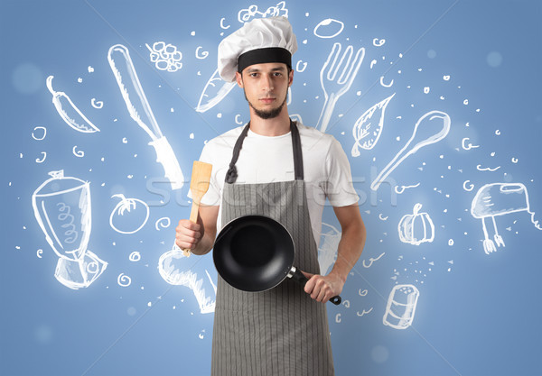 Young cook with chalk drawn soup recipe concept Stock photo © ra2studio