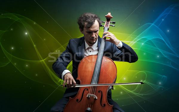 Wiolonczelista kolorowy poważny klasyczny tapety Zdjęcia stock © ra2studio