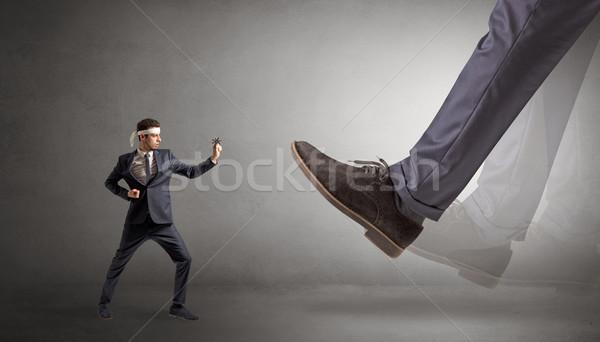 Nagy láb kicsi karate férfi fiatal Stock fotó © ra2studio