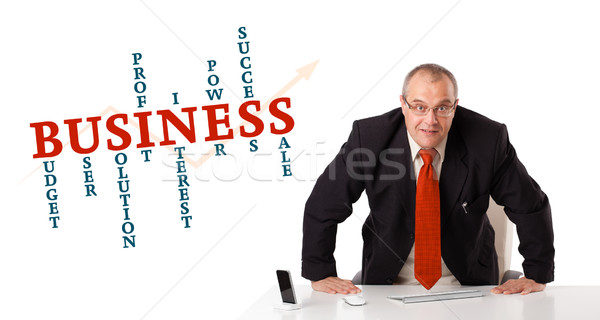 businesman sitting at desk with business word cloud Stock photo © ra2studio
