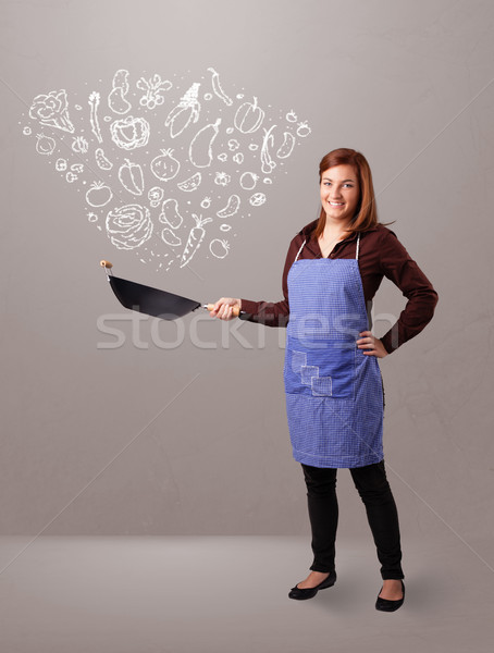 Zdjęcia stock: Kobieta · gotowania · warzyw · dość · pani · charakter
