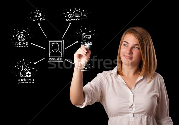 Stock fotó: Nő · rajz · közösségi · háló · ikonok · tábla · fiatal · nő