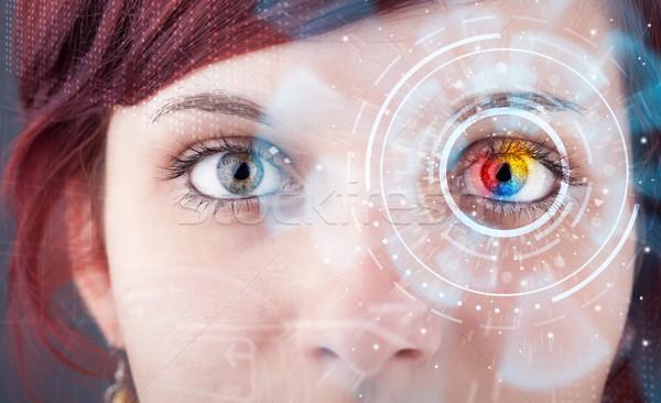 Stok fotoğraf: Gelecek · kadın · teknoloji · göz · panel · iş