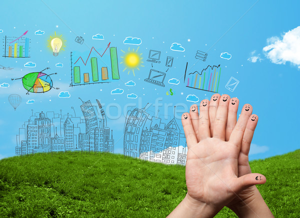 Happy smiley fingers looking at hand drawn urban city landscape Stock photo © ra2studio
