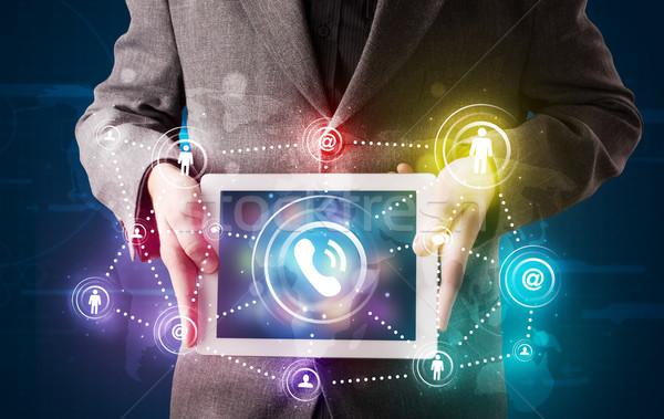 Jovem empresário social networking tecnologia Foto stock © ra2studio
