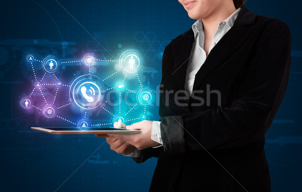 Donna sociale networking tecnologia colorato Foto d'archivio © ra2studio