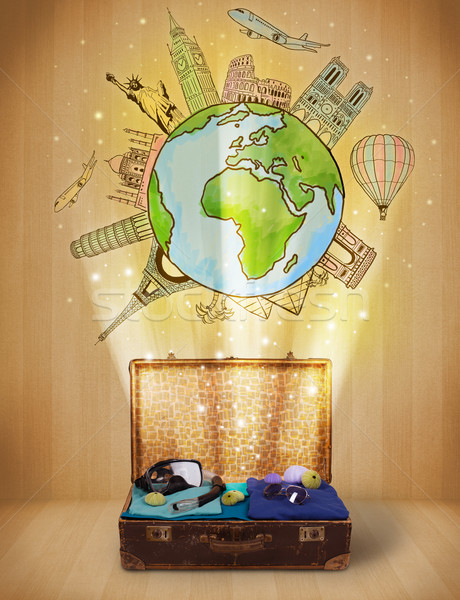 Gepäck Reise herum Welt Illustration schmutzig Stock foto © ra2studio
