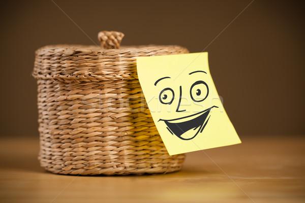 Nota rosto sorridente jóias caixa papel Foto stock © ra2studio