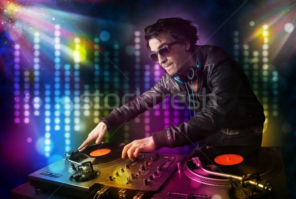 Jouer disco lumière montrent jeunes fête Photo stock © ra2studio