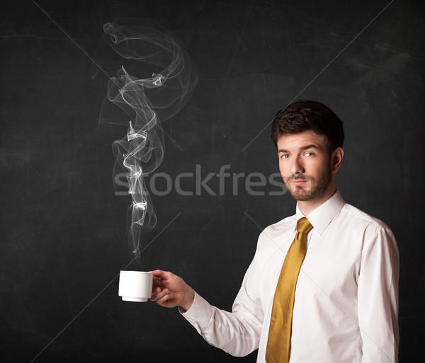 Empresário branco copo em pé preto Foto stock © ra2studio