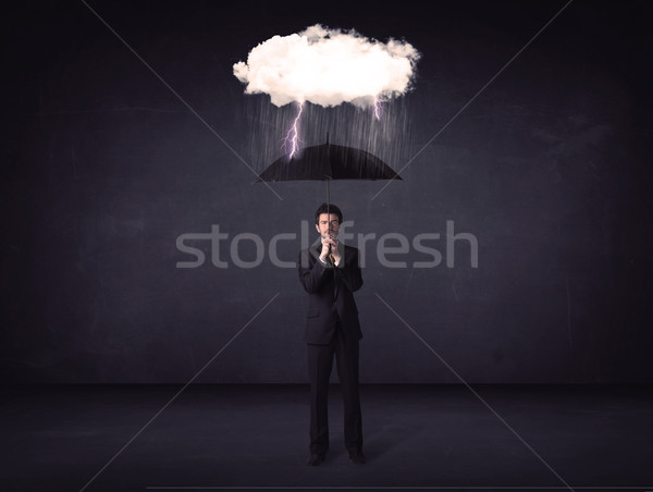 Empresario pie paraguas pequeño tormenta nube Foto stock © ra2studio