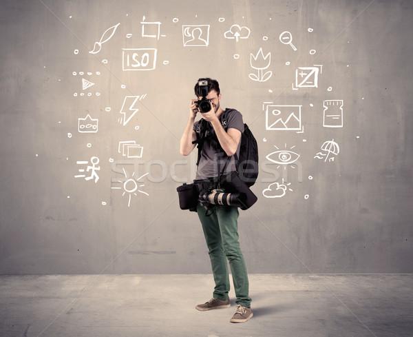 Fotós tanul kamera amatőr hobbi profi Stock fotó © ra2studio