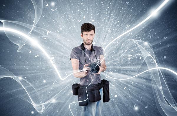Zdjęcia stock: Zawodowych · fotograf · dynamiczny · linie · młodych · amator