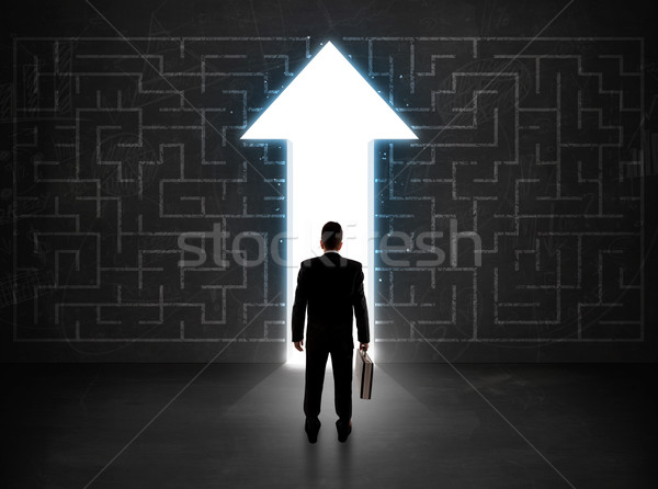 事業者 見える 迷路 ソリューション 矢印 壁 ストックフォト © ra2studio
