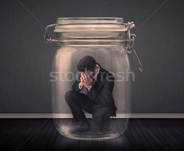 Biznesmen uwięzione szkła jar biuro człowiek Zdjęcia stock © ra2studio