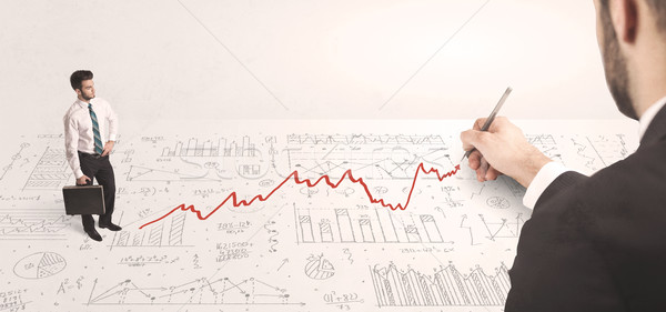 üzletember néz piros nyíl rajzolt kéz Stock fotó © ra2studio