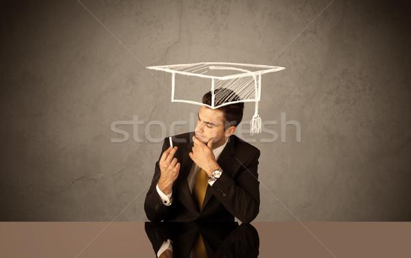 счастливым колледжей выпускник рисунок академический Hat Сток-фото © ra2studio
