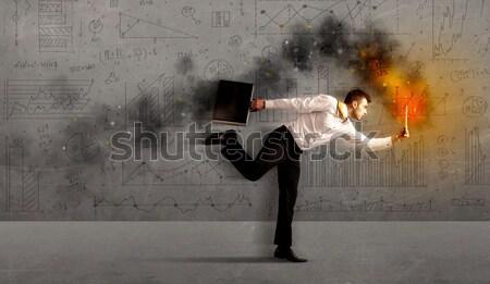 работает деловой человек огня ноутбука торопить бизнеса Сток-фото © ra2studio