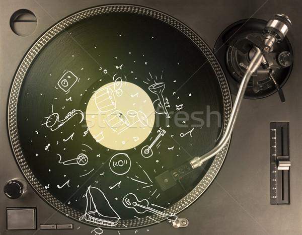 Prato giratório jogar música clássica ícone música Foto stock © ra2studio