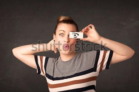 Głupi młodzik patrząc oka papieru Zdjęcia stock © ra2studio