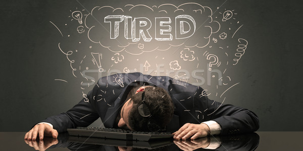 Businessman fell asleep at his workplace with ideas, sleep and t Stock photo © ra2studio