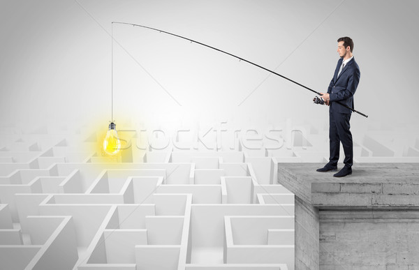 Businessman fishing new idea from a maze concept Stock photo © ra2studio