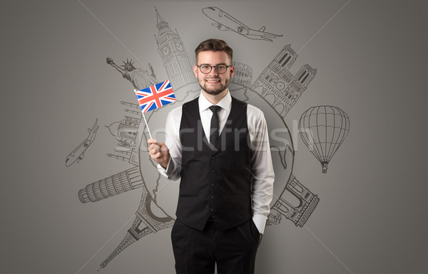 Elegante man sightseeing vlag hand business Stockfoto © ra2studio