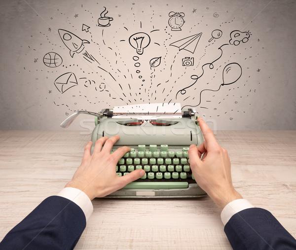 Klasszikus írógép firkák körül ötlet üzenet Stock fotó © ra2studio