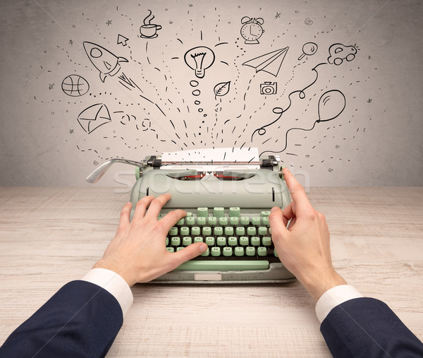Vintage schrijfmachine rond idee bericht Stockfoto © ra2studio