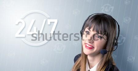 Stock photo: Female telemarketer concept