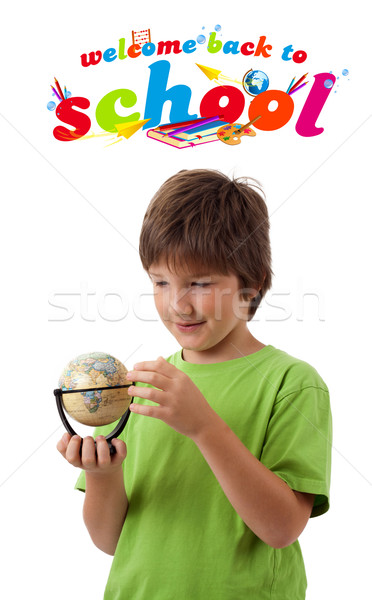 Boy looking with back to school theme isolated on white Stock photo © ra2studio