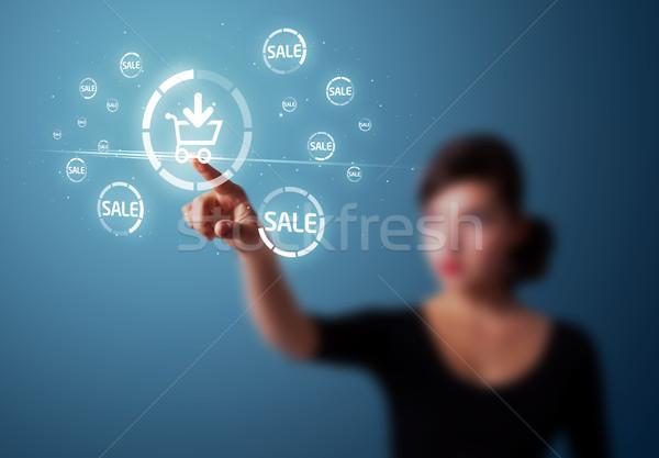 Mujer de negocios promoción envío tipo moderna Foto stock © ra2studio